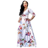 Free Ship Women Sexy V-neck Floral Print Maxi Dresses Casual High Waist Long Full Length Dress for Lady 3XL Plus