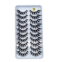 6D latigazos Cross natural a largo 10 pares partido Grueso 3D Big Eyes herramientas de maquillaje cosmético