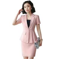 熱い女性のビジネススーツのスカートスーツ2個半袖ジャケット+スカート夏の仕事のキャリアレディーススーツHPZ-SY-6852TQ