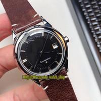 Classici di alta qualità degli anni '60 Vintage 30 Black Date Dial Giappone Miyota Automatic Mens orologio argento custodia in pelle retrò in pelle Gents Gents