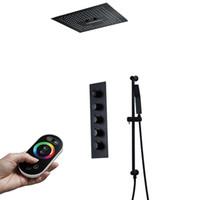 Negro de 16 pulgadas cabezal de ducha Conjunto de ducha de lluvia LED ducha techo grifos montados en la válvula termostática duchas de masaje Jets