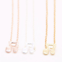 Hot sale bounce note pendant necklace Double note pendant ne...