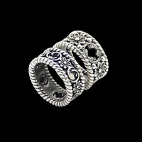 2020 Luxury designer jewelry hollow design retro style G letter flower ring for men wide version narrow version couple carved flower ring