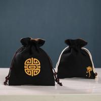 Piccola borsa da viaggio in lino nero sacchetto di velluto borsa con coulisse gioielli addensare regalo di stoffa borse perline braccialetto di stoccaggio custodia 2 pz / lotto