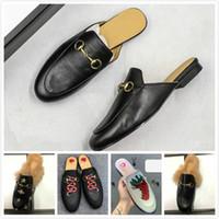 Tasarımcı Kadın Terlik Lüks makosenler Princetown Horsebit Terlik Metal Bükülmüş Klasik Italia Casual ayakkabılar Tiger nakış Orijinal kutusu