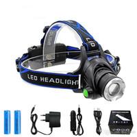 Headlamp a LED ricaricabile CREE XMLT6 5000 lubini Zoom testa lampada Torcia LED Headlamp + 18650 Faro della batteria Filmole Lanterna Pesca notturna