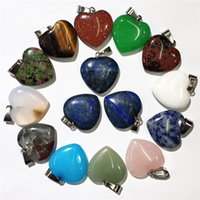 Wholesale 5pcs Various Natural Quartz Mineral Crystal Stone Polished Heart Shaped Healing Love Gemstone Crystal Pendant