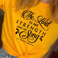 O é minha força e canção Christian T Shirt Mulheres Moda Vintage Jesus Tees Fé engraçado Art Slogan Tops Drop Shipping