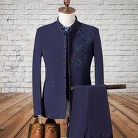 Trajes de hombre Blazers Blazers Mandarin Cuello Dragon Traje Men 2021 Estilo chino Moda Impreso para hombre vestido de blazer Bordador (chaqueta + chaleco + PA