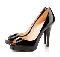 2019 Luxus Designer High Heels Lackleder Peep Pointed Toe Frauen Pumpt Plattform Roten Böden 12 CM 14 CM Hochzeitskleid Schuhe # 54