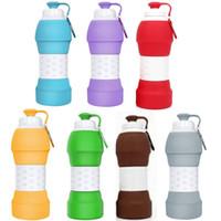 580ML 20oz sans BPA bouteille d'eau de silicone pliable rétractable se pliant de voyage bouteille d'eau de sport potable Tasses FDA Food Grade
