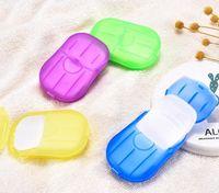 Hojas de 20PCS / caja desechable contra el polvo de papel mini jabón lava del recorrido de la mano del baño de limpieza en caja portátil que hace espuma de jabón de papel perfumados
