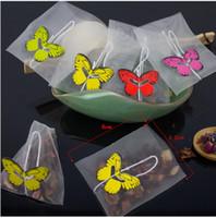 100pcsTea Sac Infuser Étiquette papillon Guérir Seal Filtre Teabags vide Sachet