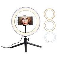 26cm Anel Light 10 polegada com tripé suporte de telefone para YouTube Desktop LED Câmera Selfie Ringle para Streaming Tiktok Makeup Studio