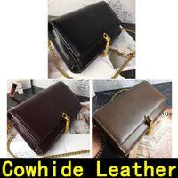 مع الجلد الأصلي الرجعية حقيبة الكتف حقيبة يد كلاسيكية الذهب والفضة سلسلة الأزياء حقيبة الكتف حقيبة CROSSBODY مربع الكافيار حقيبة يد