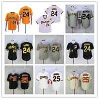 Billig vintage baseball 24 25 barry bonds jersey stickhed team pinstripe schwarze gelbe creme weiß hause weg shirt gut