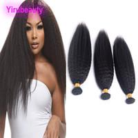 Péruvien Naturel Couleur Kinky Droite Cheveux Humains 4 Bundles Hiar Extensions Yaki Droite 8-28 pouces Cheveux Vierges Crus 4 Pieces / lot
