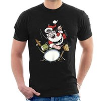 Santa Claus Drummer Rock Star T- Shirt Xmas Christmas Tee