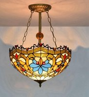 European creative lamps Tiffany stained glass anti- chandelie...
