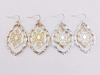 Trendy Cut Out Morocco Dangle Chandelier Filigree Two Tone F...