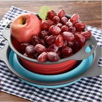 Ev Katlama Silikon Süzgeç Yaratıcı Mutfak Meyve Filtre sepeti sebze Süzgeç Katlanır Kevgir Mutfak Aksesuarları YSY254-L