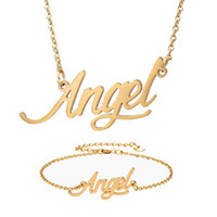 Fashion Jewelry Women Stainless Steel Name Necklace + Bracel...