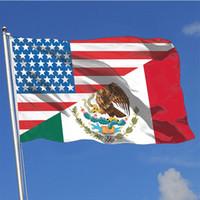 USA-Amerikaner und Mexiko Flaggen Bedruckte 3x5ft Flaggen, 100% Polyester-Gewebe, Einseitiger Druck, freies Verschiffen