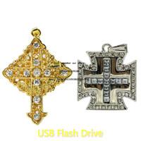 الأزياء كريستال USB فلاش حملة 64GB الماس صليب يسوع قلادة بندريف 32GB ريال سعة 4GB 8GB 16GB ذاكرة هدايا