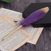 Перо страуса Quill Шариковая ручка для свадебного подарка Подпись Pen Birthday Party Gift Домашнее украшение офиса школа