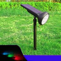 7 개의 LEDs 방수 RGB 태양 에너지 안마당 잔디 램프 조정 가능한 색깔 태양 스포트라이트 옥외 정원 정원 조경 점화