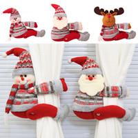 Karikatur-Puppe-Vorhang-Wölbung Fensterdekor-Schneemann Sankt Elk Fenstersiebung Clip Weihnachtsdeko DHL WX9-1657
