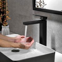 Chrom / Messing Schwarz / Gebürstetes Goldquadrat-Hahn-Badezimmer-Hahn-Bassin-Hahn-Kalt- und Warmwassermischer Einhand-Deck montiert