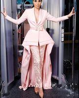Erröten Sie rosa Prom Kleider Jumpsuits Hosenanzüge Langarmspitze mit Gürtel Abendkleider plus Größe Caftan Formale Trage Robe de Soirée