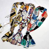 İpek Uzun Eşarplar Lüks Vintage Eşarplar Hostes Totem boyunbağı İşyeri Şal Seyahat Çift Taraflı Baskılı Saç Tie Bant sarık DYP119