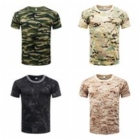 Camouflage Quick Dry respirante Compression T-shirt Collants Armée tactique T-shirt des hommes shirt bulding Body Fitness été
