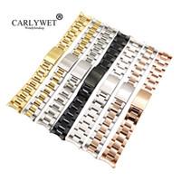 CARLYWET 13 17 19 20 milímetros de aço inoxidável 316L Two Tone Rose Gold Silver Watch Band Strap Pulseira Oyster Para Datejust