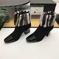On Sale Damen Herbst und Winter High Heel Stiefeletten, Hairy Stiefeletten mit seitlichem Reißverschluss und Knöchel hohen Absätzen, mit kompletten Verpackungs