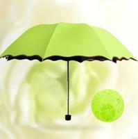 Paraguas Parasol Magic Flowers Señora Cúpula lluvia de Sun del paraguas plegable portátil Negro de recubrimiento 6 colores liberan el envío DSL-YW2373