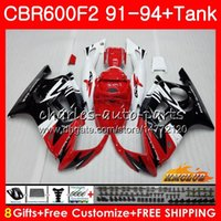 Cuerpo + Tanque En HONDA CBR 600F2 CBR600FS CBR 600 FS F2 91 92 93 94 40HC.151 600cc CBR600 F2 CBR600F2 1991 1992 1993 1994 Carenado rojo blanco
