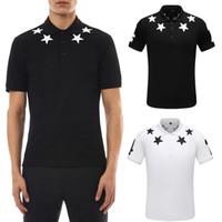 Мужские 2020 Летние рубашки поло с вышивкой звезды Италия Мода Дизайн Turn шеи Shortsleeves Cotton Polos