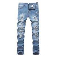 Erkek Moda Jeans Sıkı Hip Hop Street Style Vintage Yıkanmış Marka Tasarımcı Denim Koşucular için Erkek Ripped
