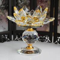 بلورة زجاجية بلورية لوتس زهرة اللوتس ... ... شمعةمعدنية فينغ شوي ... ... ديكور البيت ... ...