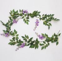 200 cm / 78.7 inç Wisteria Vine çiçek Yapay çiçekler Rattan Düğün Centerpieces Süslemeleri için Buket Çelenk Ev Süsleme