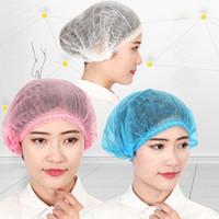 100Pcs Einweg-Salon Haar-Hut-Antistaub-Net Bouffant Cap Non-Woven-Kopf-Abdeckung Hat Elastic Reinigung Haar schützen Hut-Kappe FY4024