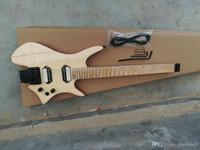 op Qualität ursprüngliche Farbe Furnier Abdeckung Ahorn Griffbrett aufgefächert Bund ohne Kopf elektrische Gitarre, freies Verschiffen