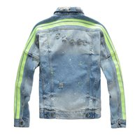 19FW Famoso Mens estilista Jaquetas Homens Mulheres Moda Denim Retro Jacket Hip Hop Stripes Ripped Denim Brasão Jacket Tamanho M-4XL