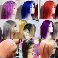 """8 """"-24"""" colori personalizzati Tutti i colori brillanti dei capelli umani parrucche anteriori del pizzo colore rosso viola grigio ombre colore 1b 613"""
