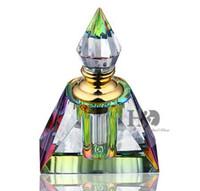 HD Vintage Piramit Kesim Cam Kristal 3 ML Parfüm Şişesi Tıpa Doldurulabilir Konteyner Düğün Boş Hediyeler Ev Masa Dekorasyon