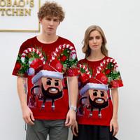 عيد ميلاد سعيد الغزلان 3d طباعة تي شيرت النساء الرجال تأثيري كابوس قبل عيد الميلاد الكرتون قصيرة الأكمام مضحك الزى