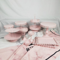 10 Pcs Pink White Set Tray Metal Cupcake Wedding Dessert 2 T...
